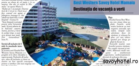 "Travel Advisor nominalizeaza Savoy Hotel Mamaia ""Destinatia de vacanta a verii"""